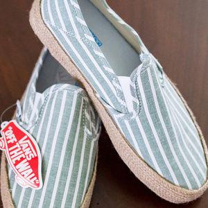 VANS Slip-On Espadrilles (Striped Linen) NWT